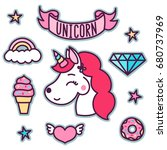 trendy sticker pack with... | Shutterstock .eps vector #680737969
