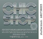 vector set of silver alphabet... | Shutterstock .eps vector #680738005