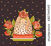 birthday cake with roses and...   Shutterstock .eps vector #680744545