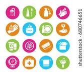 hygiene  viruses and bacterias... | Shutterstock .eps vector #680746651