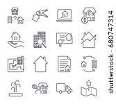 home rent mortgage icons set.... | Shutterstock .eps vector #680747314