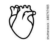 human heart organ with aorta... | Shutterstock .eps vector #680747485