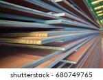 beautiful steel texture. stack... | Shutterstock . vector #680749765
