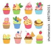 wedding vanilla cupcakes... | Shutterstock .eps vector #680756311