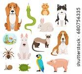 big vector set of different... | Shutterstock .eps vector #680756335