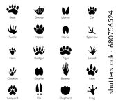 different footprints of birds... | Shutterstock .eps vector #680756524