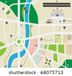 City map with airport - stock vector