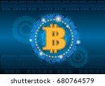 bitcoin logo with technology... | Shutterstock .eps vector #680764579