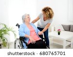 cheerful mature woman visiting... | Shutterstock . vector #680765701