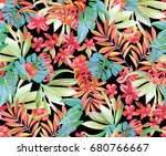 exotic floral pattern on black ... | Shutterstock . vector #680766667