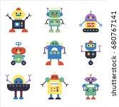 various cute robots vector... | Shutterstock .eps vector #680767141