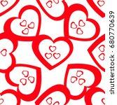 simple hearts seamless vector...   Shutterstock .eps vector #680770639