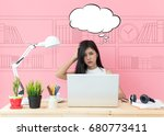 young beautiful working at... | Shutterstock . vector #680773411
