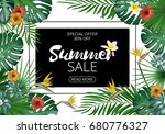 sale banner  poster with exotic ... | Shutterstock .eps vector #680776327