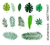 set of flat tropical leaves... | Shutterstock .eps vector #680779447