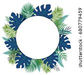 tropical background with white... | Shutterstock .eps vector #680779459