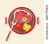 portable round barbecue with... | Shutterstock .eps vector #680795851