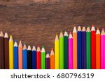 color pencil on wooden... | Shutterstock . vector #680796319