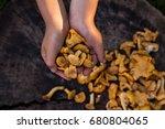 hands holding chanterelle... | Shutterstock . vector #680804065