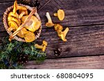 mushrooms chanterelle in the... | Shutterstock . vector #680804095
