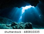 sun light into the underwater... | Shutterstock . vector #680810335