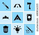set of 9 mixed icons such as... | Shutterstock .eps vector #680816335
