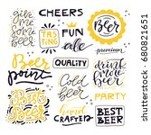 collection of beer related... | Shutterstock .eps vector #680821651