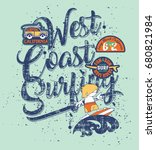 west coast surfing boy   funny... | Shutterstock .eps vector #680821984