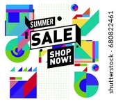 summer sale geometric style web ... | Shutterstock .eps vector #680822461