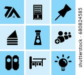 set of 9 mixed icons such as... | Shutterstock .eps vector #680824585