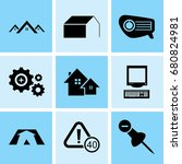 set of 9 mixed icons such as... | Shutterstock .eps vector #680824981