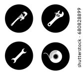construction tools glyph icons...   Shutterstock .eps vector #680828899