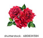 Stock photo red roses bouquet bunch isolated watercolor illustration 680834584