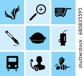 set of 9 mixed icons such as... | Shutterstock .eps vector #680835595