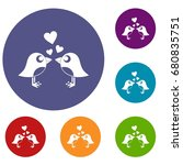 two birds with hearts icons set ...   Shutterstock .eps vector #680835751