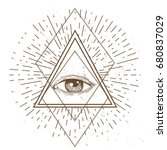 all seeing eye symbol and... | Shutterstock .eps vector #680837029
