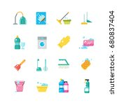 cleaning home services and... | Shutterstock .eps vector #680837404