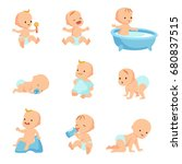 happy smiling baby. cute... | Shutterstock .eps vector #680837515