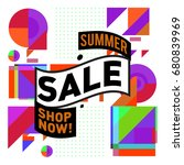summer sale geometric style web ... | Shutterstock .eps vector #680839969