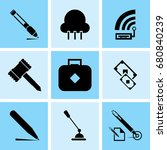 set of 9 mixed icons such as... | Shutterstock .eps vector #680840239