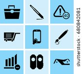set of 9 mixed icons such as... | Shutterstock .eps vector #680842081