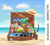 suitcase open with beach travel ... | Shutterstock .eps vector #680842795