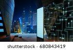 empty screen billboard with... | Shutterstock . vector #680843419