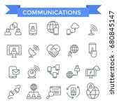 communicating icons  thin line... | Shutterstock .eps vector #680845147