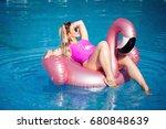 beautiful blonde swimming in...   Shutterstock . vector #680848639