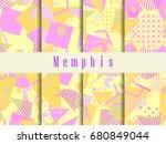 memphis seamless pattern.... | Shutterstock .eps vector #680849044