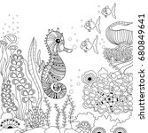 seahorse zentangle illustration ... | Shutterstock .eps vector #680849641
