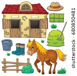 horse and related objects theme ... | Shutterstock .eps vector #680850481