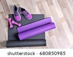 yoga mats  sneakers and... | Shutterstock . vector #680850985