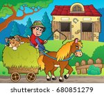 hay cart with farmer near... | Shutterstock .eps vector #680851279